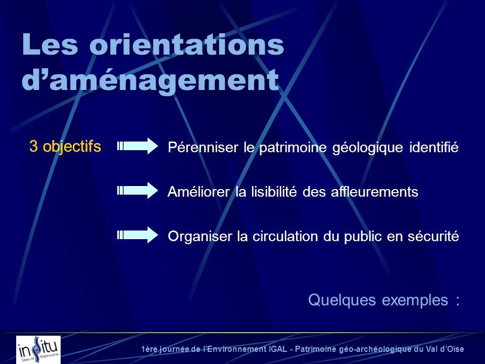 1ère journée de lEnvironnement IGAL - Patrimoine géo-archéologique du Val dOise Les orientations daménagement 3 objectifs Pérenniser le patrimoine géo