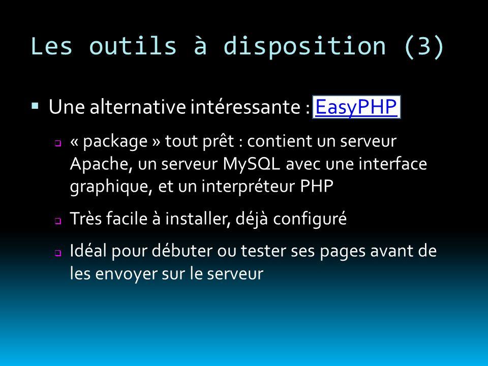 Les outils à disposition (3) Une alternative intéressante : EasyPHPEasyPHP « package » tout prêt : contient un serveur Apache, un serveur MySQL avec u