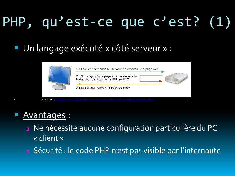 PHP, quest-ce que cest? (1) Un langage exécuté « côté serveur » : source : http://www.vulgarisation-informatique.com/introduction-php.phphttp://www.vu