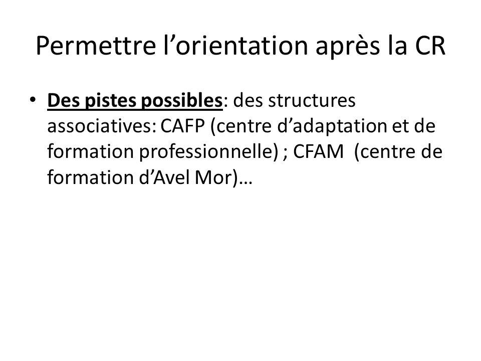Permettre lorientation après la CR Des pistes possibles: des structures associatives: CAFP (centre dadaptation et de formation professionnelle) ; CFAM (centre de formation dAvel Mor)…
