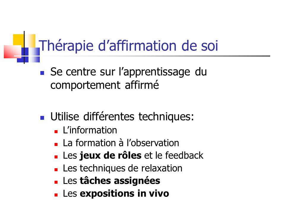 Thérapie daffirmation de soi Se centre sur lapprentissage du comportement affirmé Utilise différentes techniques: Linformation La formation à lobserva