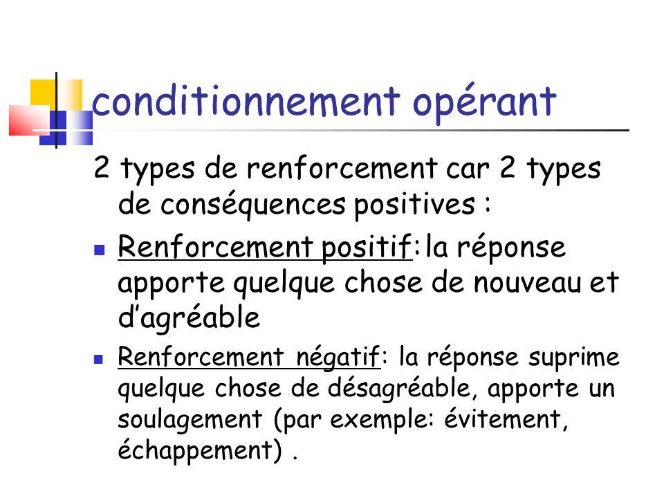 conditionnement opérant 2 types de renforcement car 2 types de conséquences positives : Renforcement positif:la réponse apporte quelque chose de nouve
