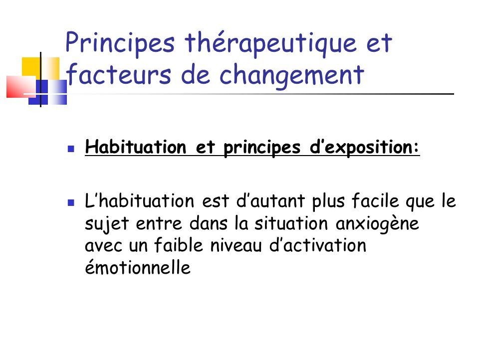 Principes thérapeutique et facteurs de changement Habituation et principes dexposition: Lhabituation est dautant plus facile que le sujet entre dans l
