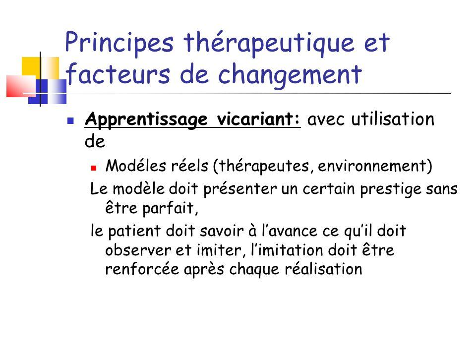 Principes thérapeutique et facteurs de changement Apprentissage vicariant: avec utilisation de Modéles réels (thérapeutes, environnement) Le modèle do