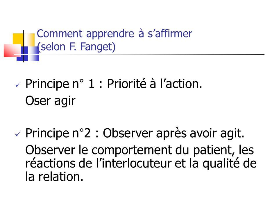 Comment apprendre à saffirmer (selon F. Fanget) Principe n° 1 : Priorité à laction. Oser agir Principe n°2 : Observer après avoir agit. Observer le co