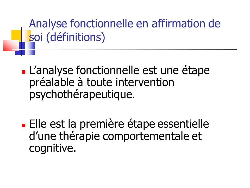 Analyse fonctionnelle en affirmation de soi (définitions) Lanalyse fonctionnelle est une étape préalable à toute intervention psychothérapeutique. Ell