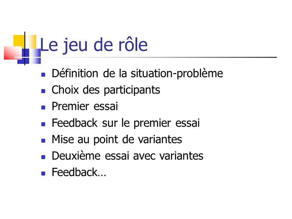 Le jeu de rôle Définition de la situation-problème Choix des participants Premier essai Feedback sur le premier essai Mise au point de variantes Deuxi