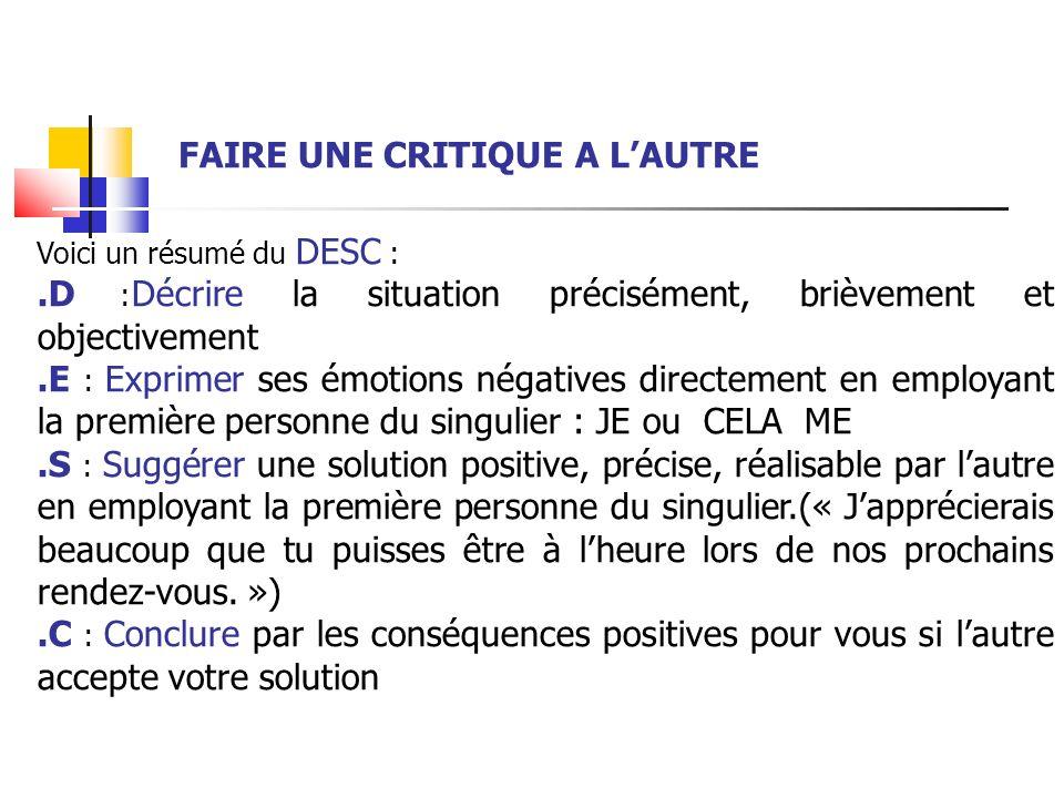 Voici un résumé du DESC :.D : Décrire la situation précisément, brièvement et objectivement.E : Exprimer ses émotions négatives directement en employa