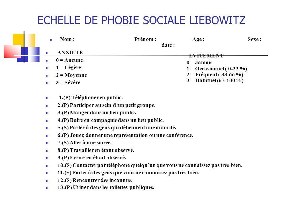 ECHELLE DE PHOBIE SOCIALE LIEBOWITZ Nom :Prénom : Age :Sexe : date : ANXIETE 0 = Aucune 1 = Légère 2 = Moyenne 3 = Sévère 1.(P) Téléphoner en public.