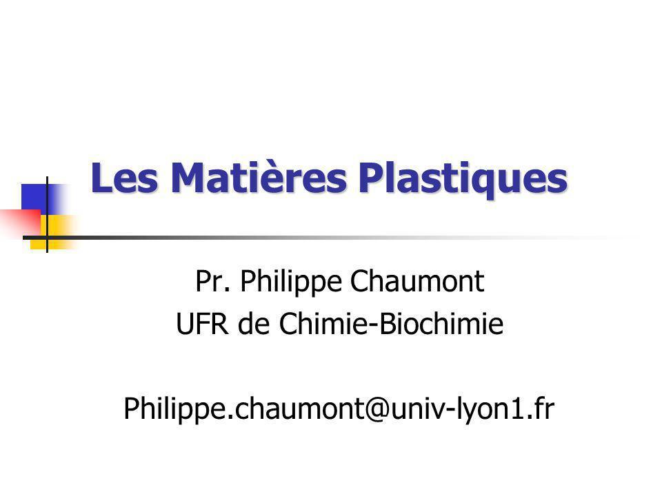 Les Matières Plastiques Pr. Philippe Chaumont UFR de Chimie-Biochimie Philippe.chaumont@univ-lyon1.fr