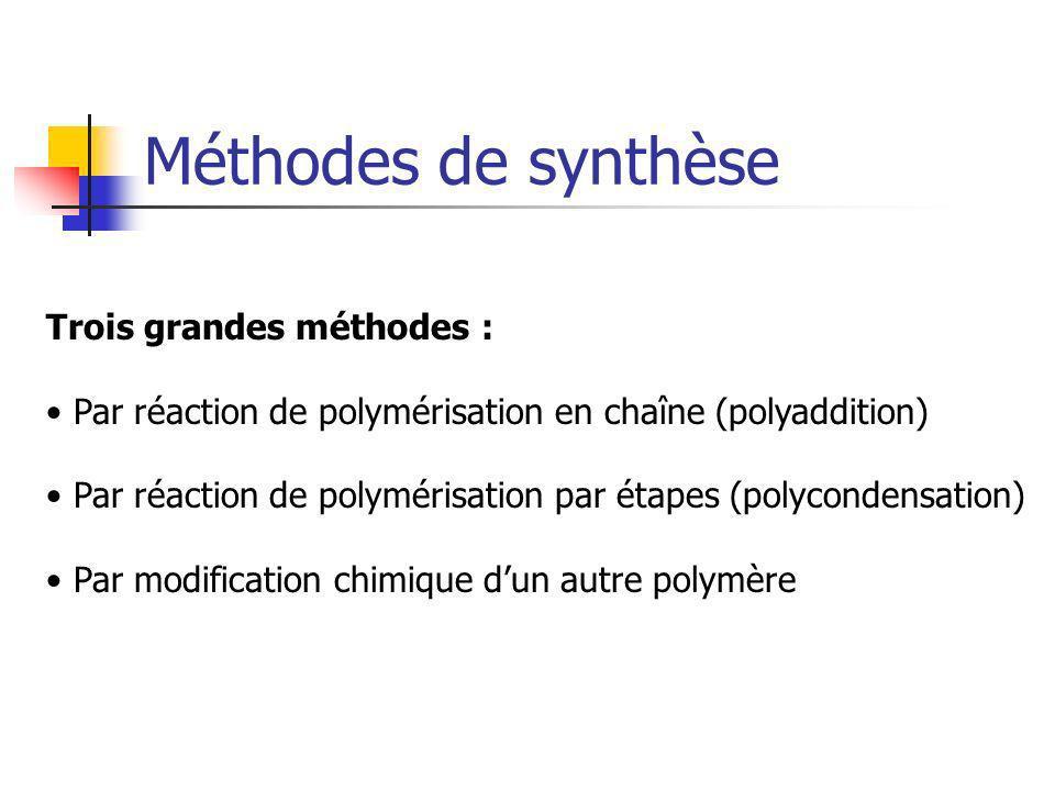 Méthodes de synthèse Trois grandes méthodes : Par réaction de polymérisation en chaîne (polyaddition) Par réaction de polymérisation par étapes (polyc