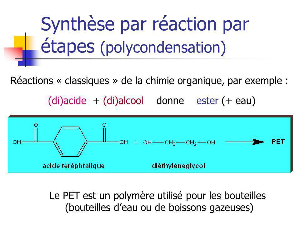 Synthèse par réaction par étapes (polycondensation) Le PET est un polymère utilisé pour les bouteilles (bouteilles deau ou de boissons gazeuses) (di)a