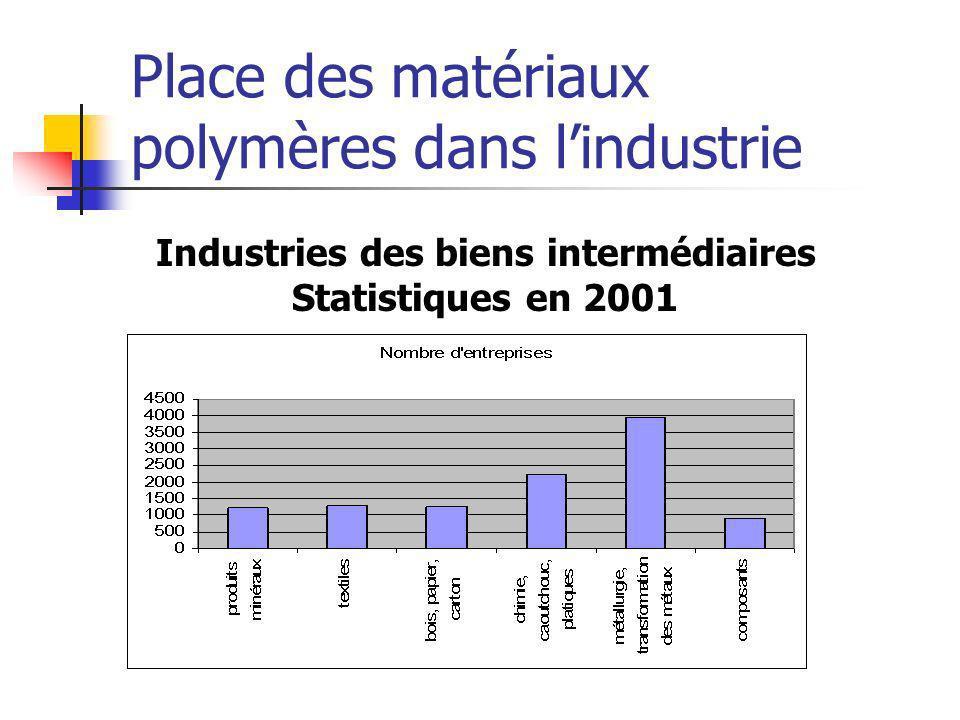Place des matériaux polymères dans lindustrie Industries des biens intermédiaires Statistiques en 2001