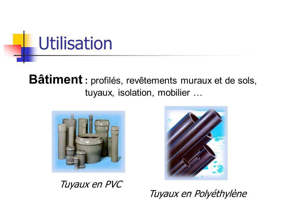 Utilisation Bâtiment : profilés, revêtements muraux et de sols, tuyaux, isolation, mobilier … Tuyaux en PVC Tuyaux en Polyéthylène