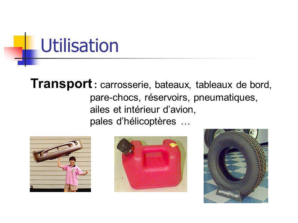 Utilisation Transport : carrosserie, bateaux, tableaux de bord, pare-chocs, réservoirs, pneumatiques, ailes et intérieur davion, pales dhélicoptères …