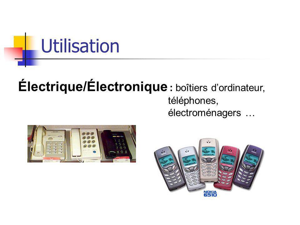 Utilisation Électrique/Électronique : boîtiers dordinateur, téléphones, électroménagers …