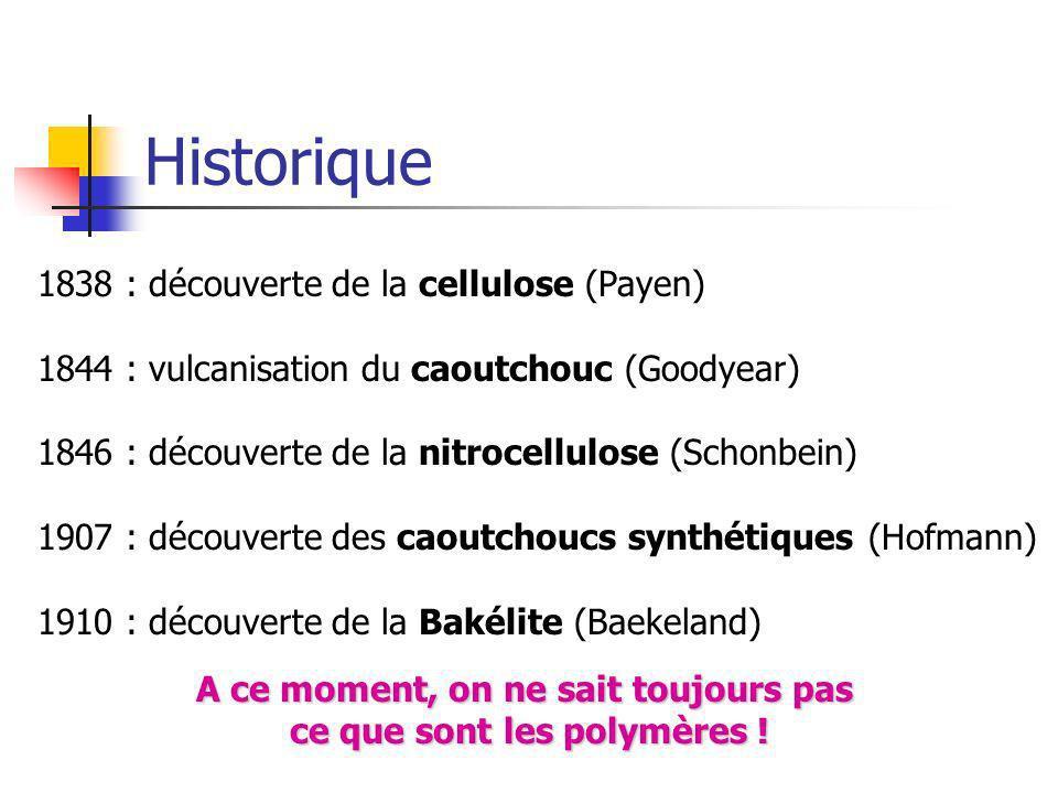 Historique 1838 : découverte de la cellulose (Payen) 1844 : vulcanisation du caoutchouc (Goodyear) 1846 : découverte de la nitrocellulose (Schonbein)