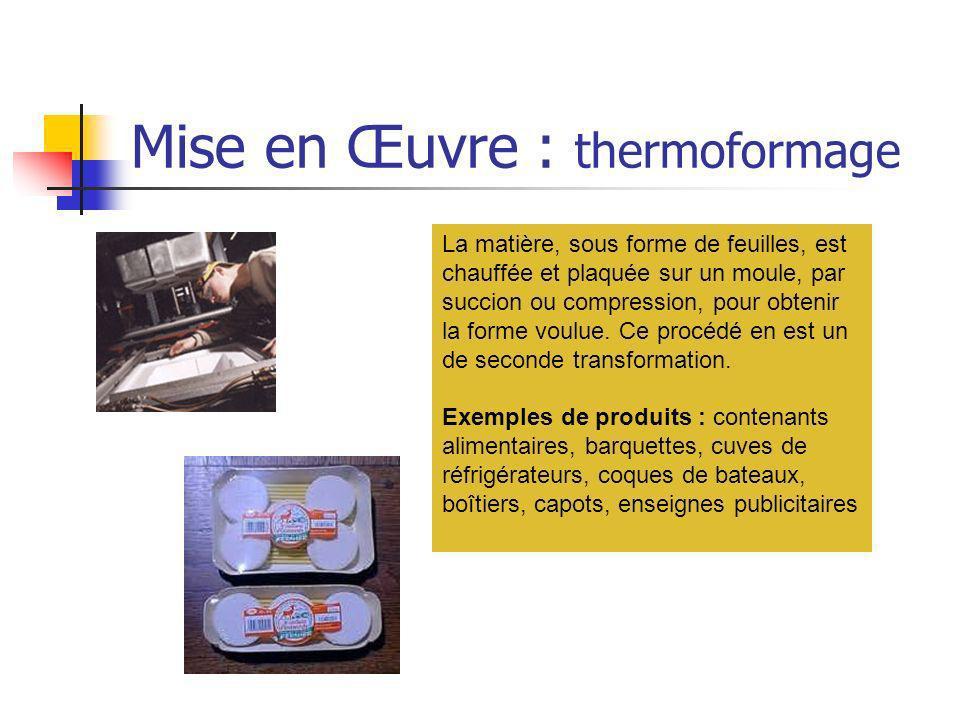 Mise en Œuvre : thermoformage La matière, sous forme de feuilles, est chauffée et plaquée sur un moule, par succion ou compression, pour obtenir la fo
