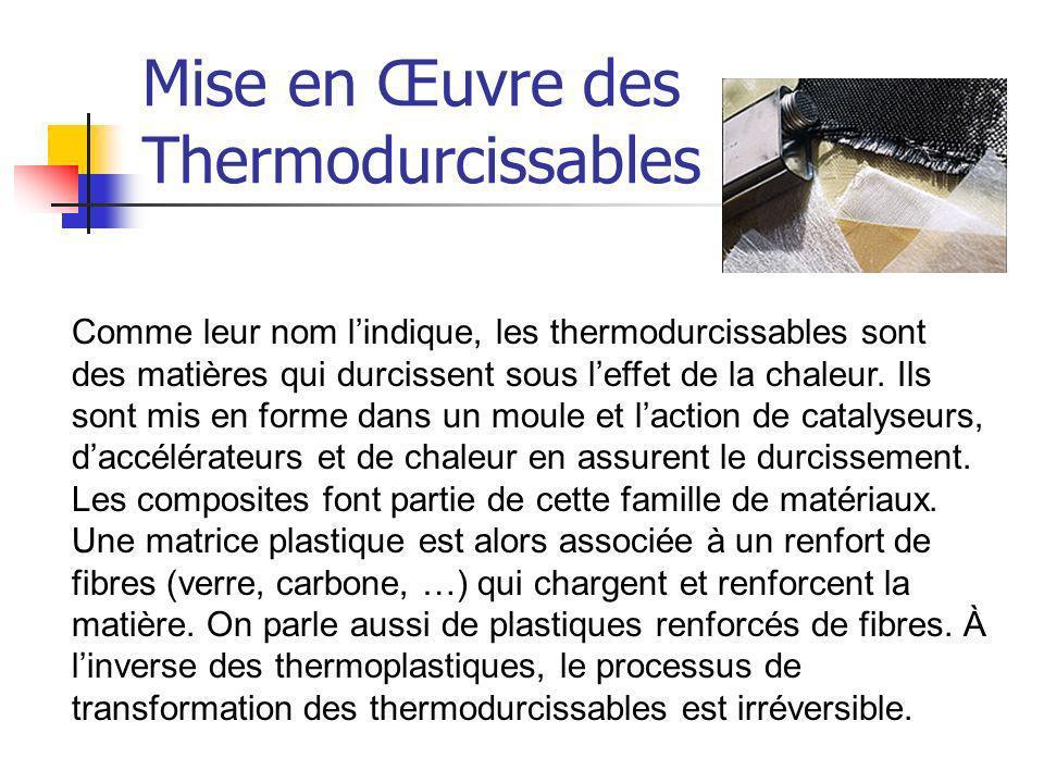 Mise en Œuvre des Thermodurcissables Comme leur nom lindique, les thermodurcissables sont des matières qui durcissent sous leffet de la chaleur. Ils s