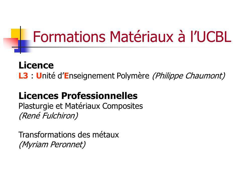 Formations Matériaux à lUCBL Licence L3 : Unité dEnseignement Polymère (Philippe Chaumont) Licences Professionnelles Plasturgie et Matériaux Composite