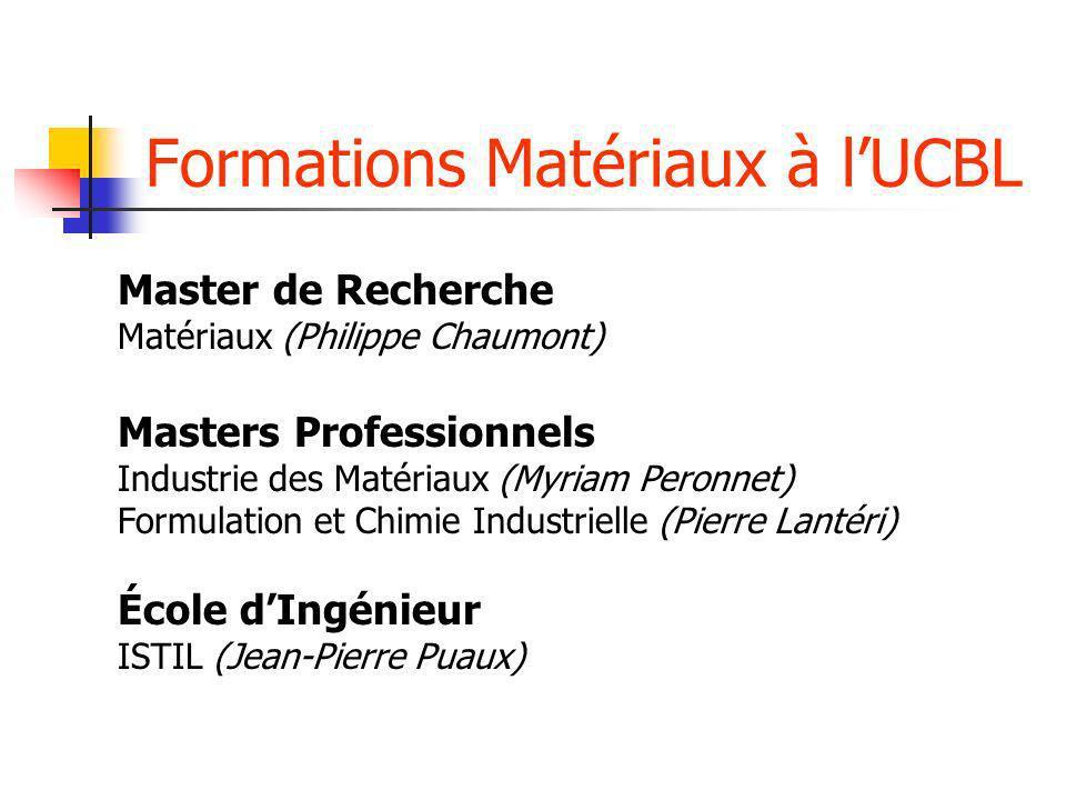 Formations Matériaux à lUCBL Master de Recherche Matériaux (Philippe Chaumont) Masters Professionnels Industrie des Matériaux (Myriam Peronnet) Formul