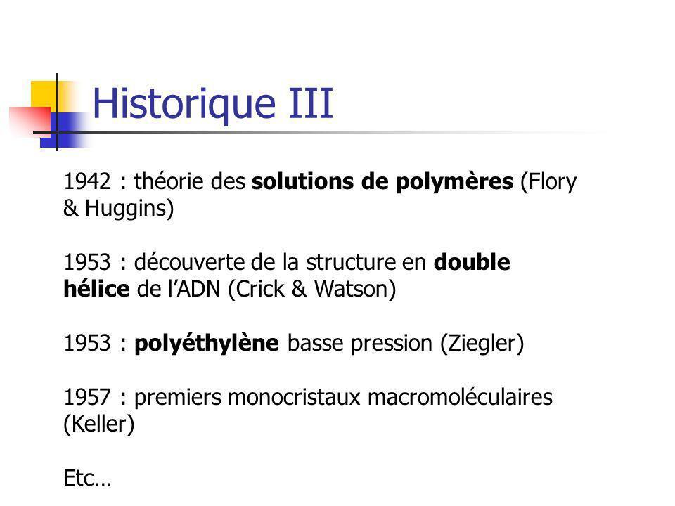 Historique III 1942 : théorie des solutions de polymères (Flory & Huggins) 1953 : découverte de la structure en double hélice de lADN (Crick & Watson)