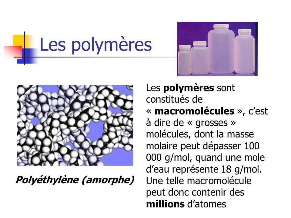Les polymères Les polymères sont constitués de « macromolécules », cest à dire de « grosses » molécules, dont la masse molaire peut dépasser 100 000 g