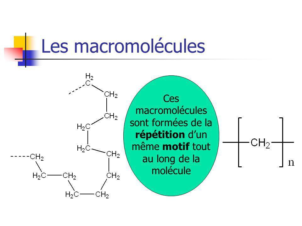 Les macromolécules Ces macromolécules sont formées de la répétition dun même motif tout au long de la molécule