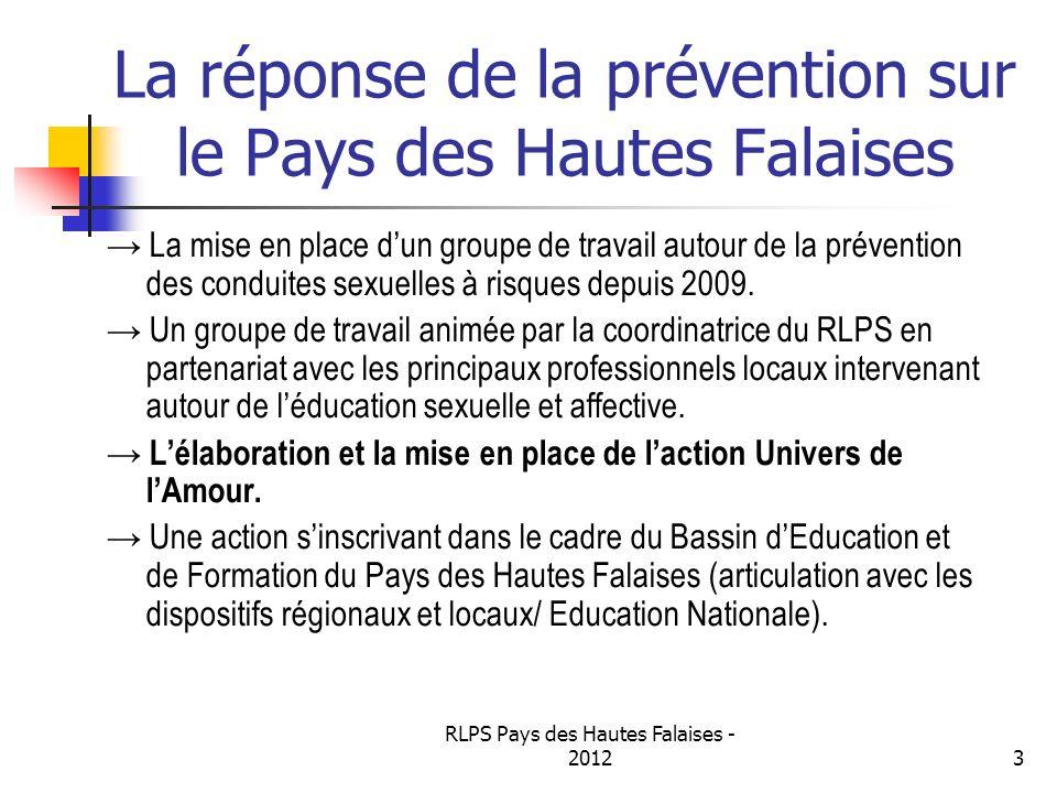 RLPS Pays des Hautes Falaises - 20123 La réponse de la prévention sur le Pays des Hautes Falaises La mise en place dun groupe de travail autour de la