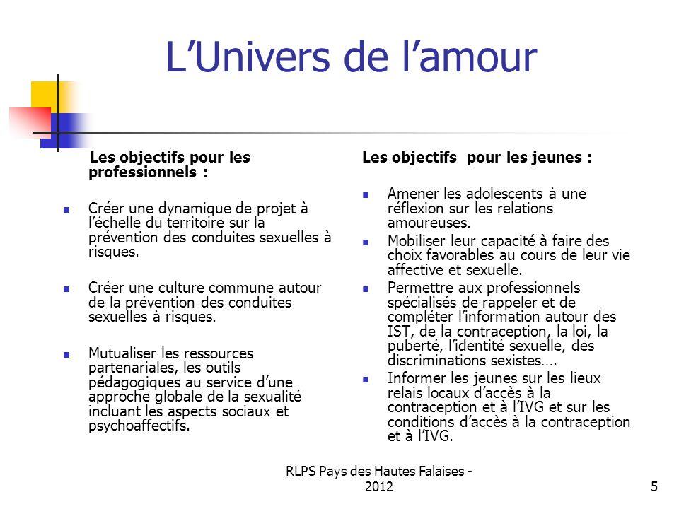 RLPS Pays des Hautes Falaises - 20125 LUnivers de lamour Les objectifs pour les professionnels : Créer une dynamique de projet à léchelle du territoir