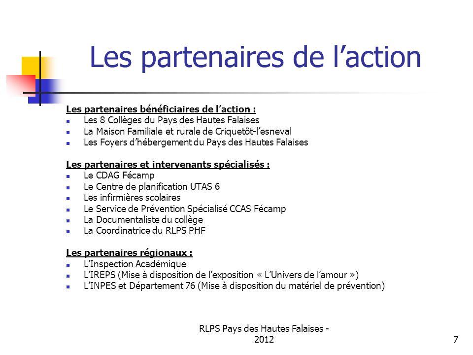 RLPS Pays des Hautes Falaises - 20127 Les partenaires de laction Les partenaires bénéficiaires de laction : Les 8 Collèges du Pays des Hautes Falaises