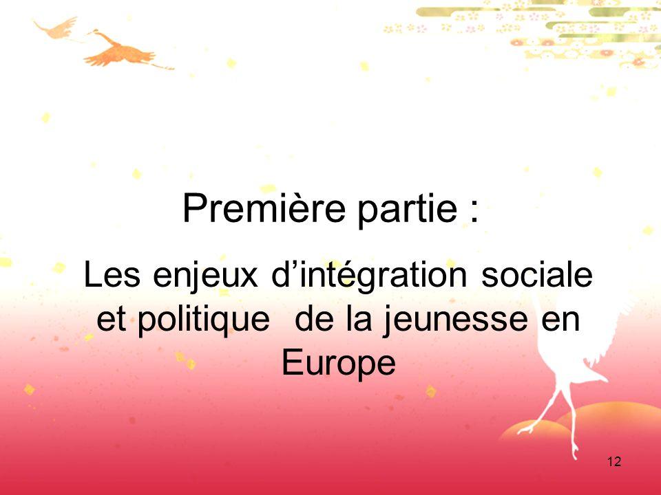 12 Première partie : Les enjeux dintégration sociale et politique de la jeunesse en Europe
