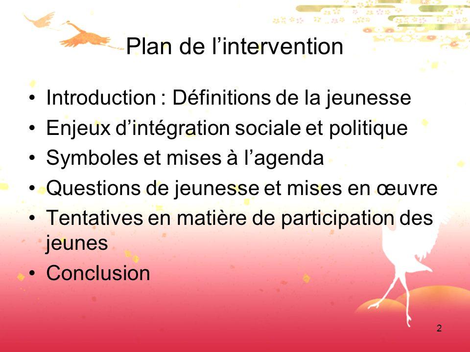 2 Plan de lintervention Introduction : Définitions de la jeunesse Enjeux dintégration sociale et politique Symboles et mises à lagenda Questions de jeunesse et mises en œuvre Tentatives en matière de participation des jeunes Conclusion