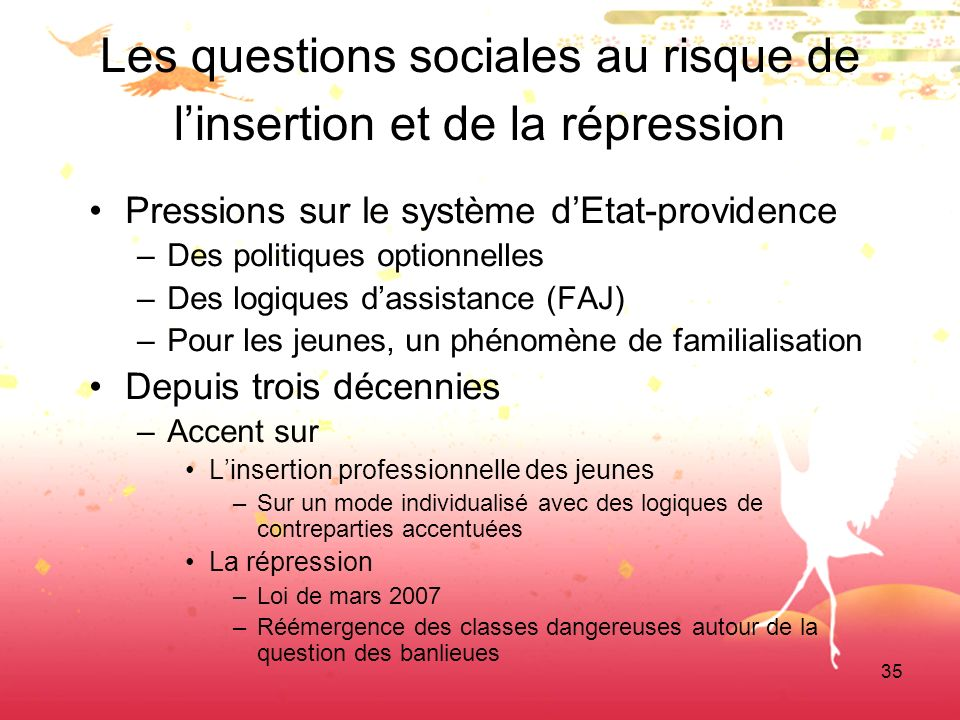 35 Les questions sociales au risque de linsertion et de la répression Pressions sur le système dEtat-providence –Des politiques optionnelles –Des logi