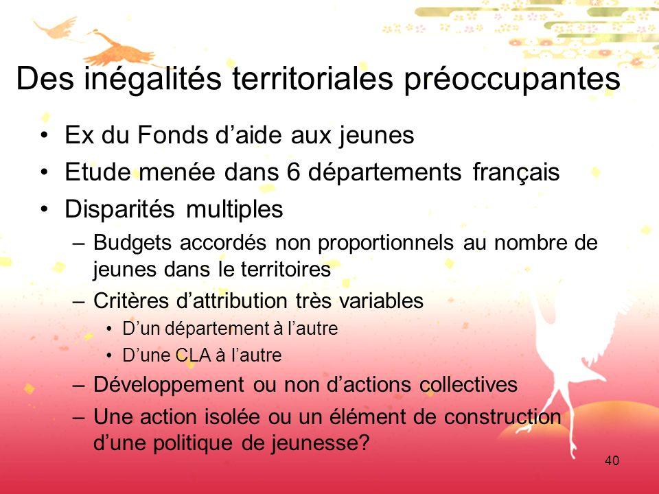 40 Des inégalités territoriales préoccupantes Ex du Fonds daide aux jeunes Etude menée dans 6 départements français Disparités multiples –Budgets acco