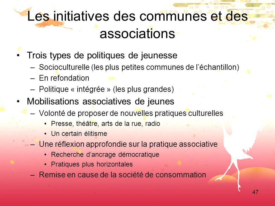 47 Les initiatives des communes et des associations Trois types de politiques de jeunesse –Socioculturelle (les plus petites communes de léchantillon)