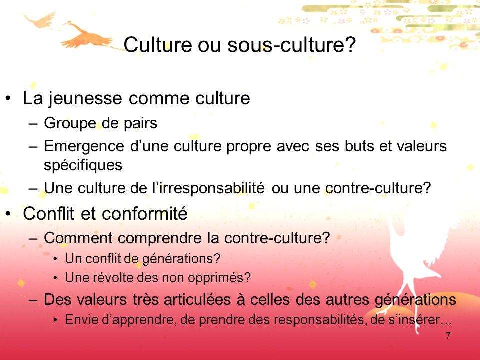 7 Culture ou sous-culture? La jeunesse comme culture –Groupe de pairs –Emergence dune culture propre avec ses buts et valeurs spécifiques –Une culture