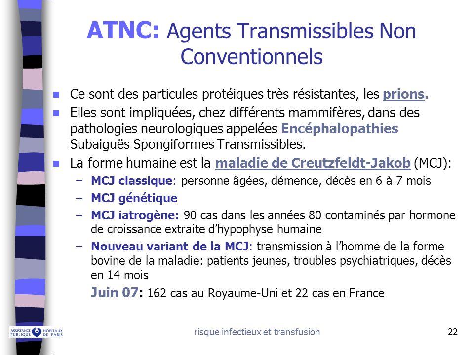 risque infectieux et transfusion22 ATNC: Agents Transmissibles Non Conventionnels Ce sont des particules protéiques très résistantes, les prions. Elle