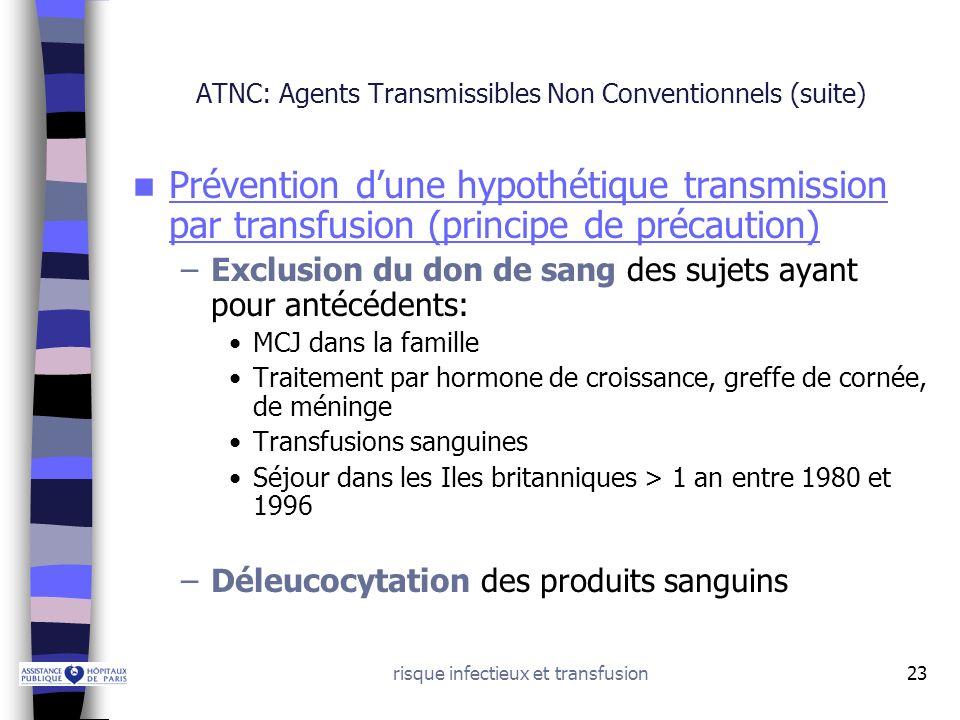 risque infectieux et transfusion23 ATNC: Agents Transmissibles Non Conventionnels (suite) Prévention dune hypothétique transmission par transfusion (p