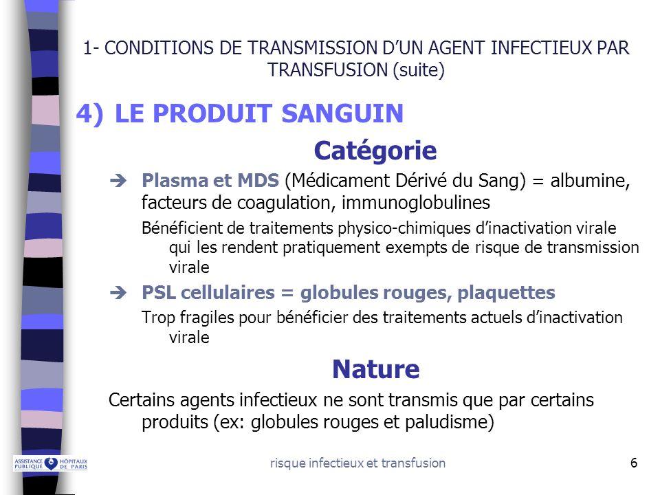 risque infectieux et transfusion7 2 - PRINCIPAUX AGENTS INFECTIEUX TRANSMISSIBLES VIRUS –Hépatites virales post-transfusionnelles –Rétrovirus BACTERIES –Contamination bactérienne du produit –Syphilis PARASITES = Paludisme ATNC: Agents transmissibles non conventionnels