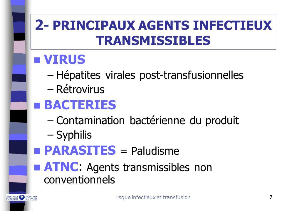 risque infectieux et transfusion18 VIRUS: RETROVIRUS 1) VIH:virus immunodéficience humaine Structure – clinique: voir cours SIDA Transmission: –Parentérale: Transfusion:le VIH est présent dans les cellules du sang et le plasma: avant 1985 (dépistage du virus) tous les produits sanguins (sauf lalbumine et les immunoglobulines) ont été contaminants Toxicomanie IV –Sexuelle –Mère – enfant Dépistage du VIH chez les donneurs de sang –Recherche danticorps anti VIH 1 et 2 (août 1985) Fenêtre sérologique moyenne = 22 jours –Dépistage génomique viral (DGV) VIH (juillet 2001) Fenêtre sérologique moyenne = 11 jours