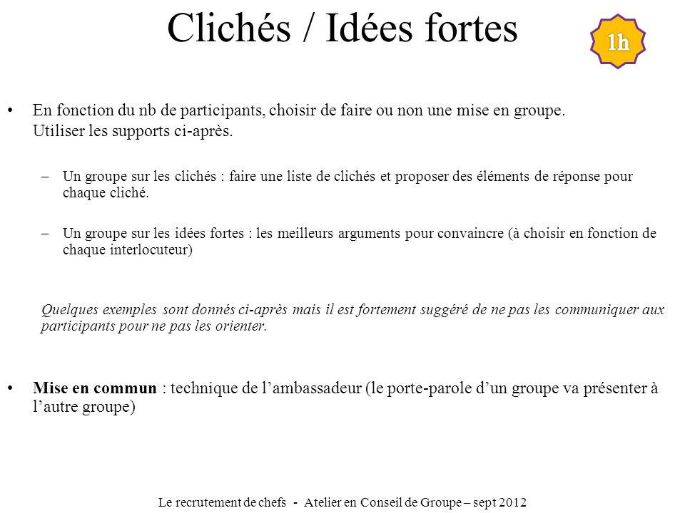 Clichés / Idées fortes En fonction du nb de participants, choisir de faire ou non une mise en groupe. Utiliser les supports ci-après. –Un groupe sur l