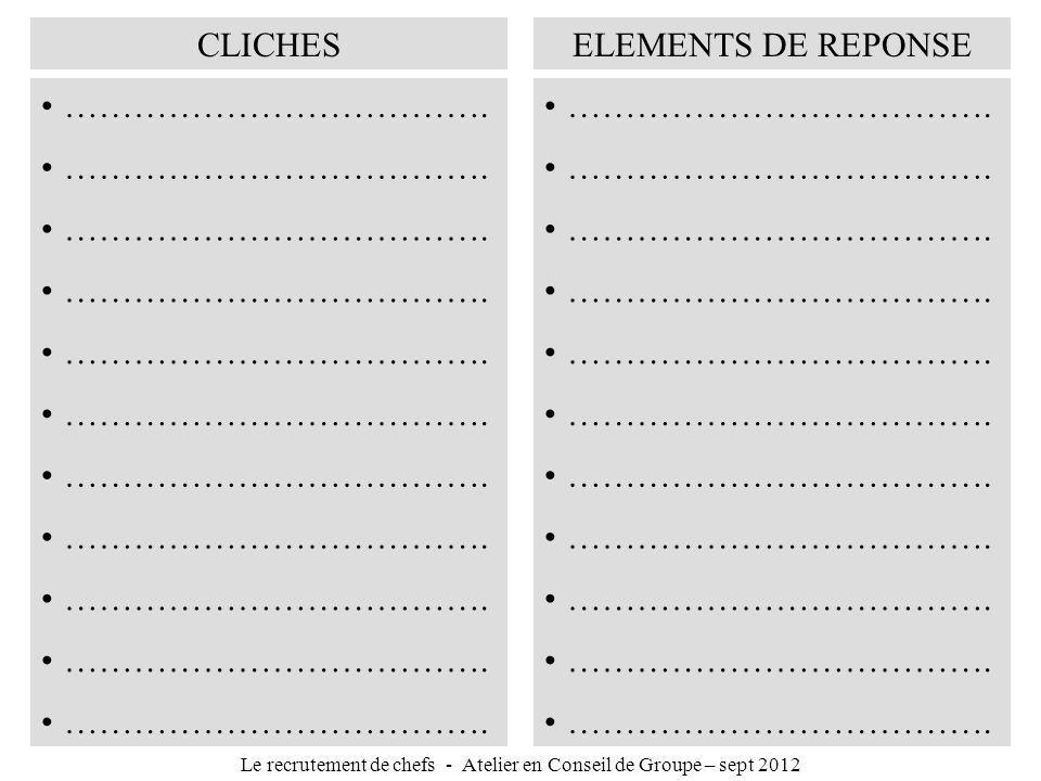 CLICHESELEMENTS DE REPONSE ………………………………. Le recrutement de chefs - Atelier en Conseil de Groupe – sept 2012