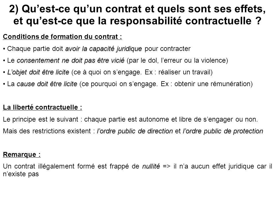 2) Quest-ce quun contrat et quels sont ses effets, et quest-ce que la responsabilité contractuelle ? Le contrat est Conditions de formation du contrat