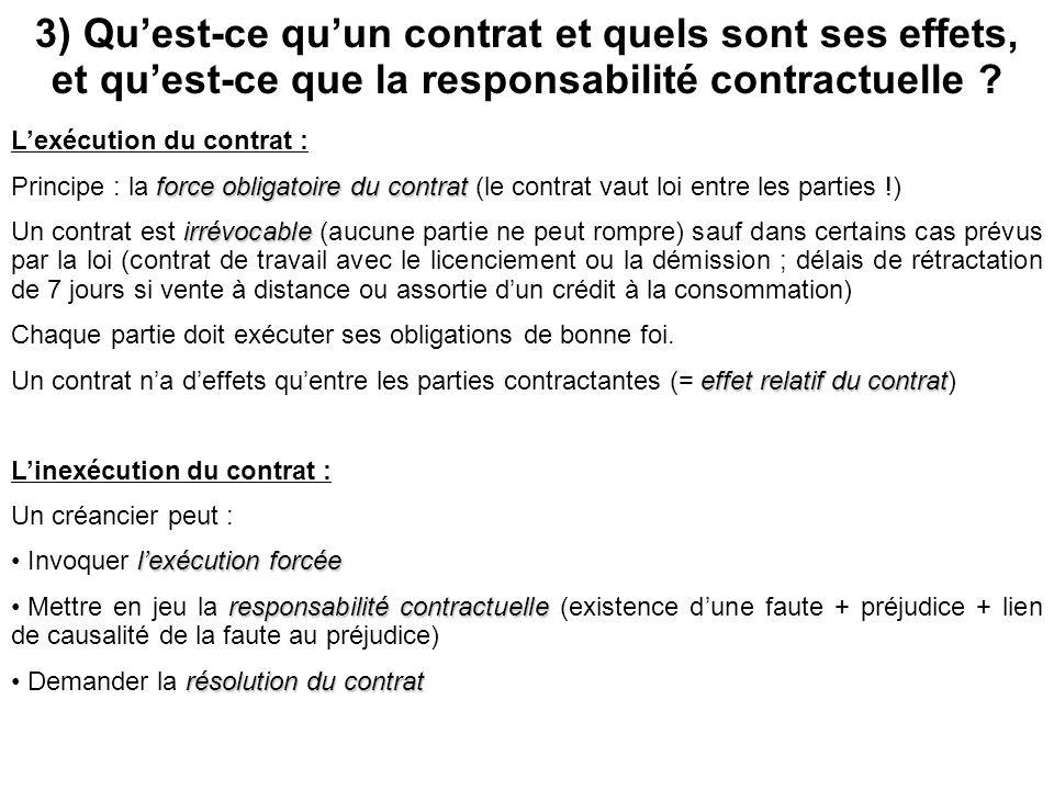 3) Quest-ce quun contrat et quels sont ses effets, et quest-ce que la responsabilité contractuelle ? Le contrat est Lexécution du contrat : force obli