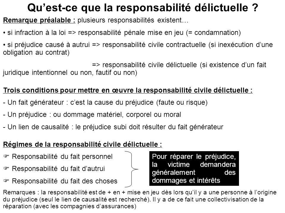 Quest-ce que la responsabilité délictuelle ? Remarque préalable : plusieurs responsabilités existent… si infraction à la loi => responsabilité pénale