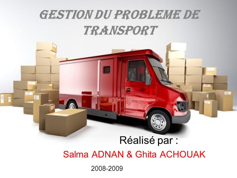 GESTION DU PROBLEME DE TRANSPORT Réalisé par : Salma ADNAN & Ghita ACHOUAK 2008-2009