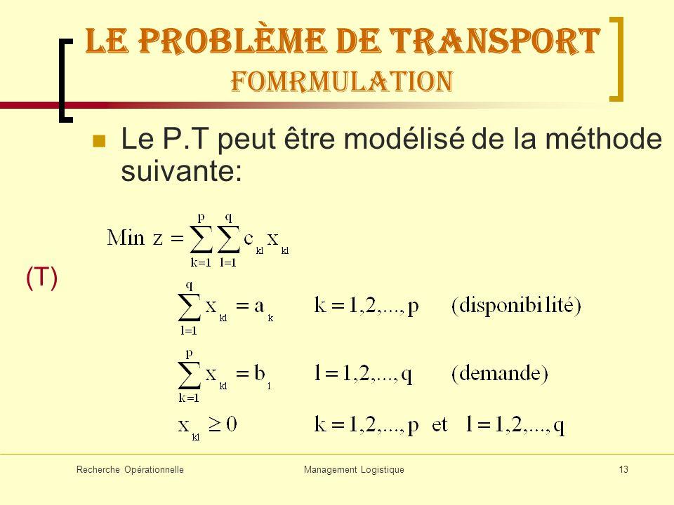 Recherche OpérationnelleManagement Logistique13 LE problème de transport FOMRMULATION Le P.T peut être modélisé de la méthode suivante: (T)