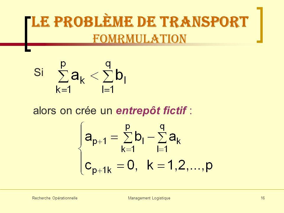 Recherche OpérationnelleManagement Logistique16 Si alors on crée un entrepôt fictif : LE problème de transport FOMRMULATION