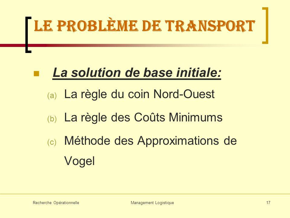 Recherche OpérationnelleManagement Logistique17 LE problème de transport La solution de base initiale: (a) La règle du coin Nord-Ouest (b) La règle de